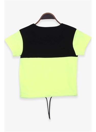 Breeze Kız Çocuk Tişört Baskılı Bagcıklı Neon Yeşil  Yeşil